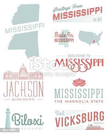 A set of vintage-style icons and typography representing the state of Mississippi, including Jackson, Biloxi and Vicksburg. Each items is on a separate layer. Includes a layered Photoshop document. Ideal for both print and web elements.