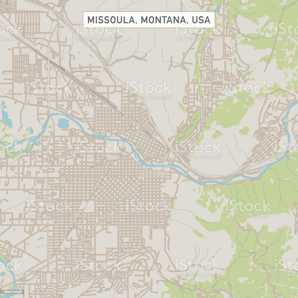 Missoula Montana Us City Street Map Stock Vector Art & More Images ...