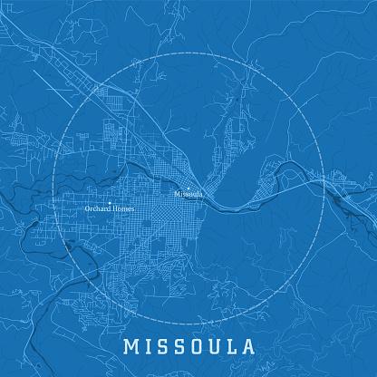 Missoula MT City Vector Road Map Blue Text