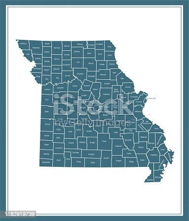 istock Missouri counties map printable 1182919739