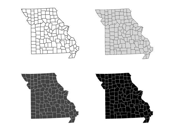 missouri county map (gray, black, white) - missouri stock illustrations