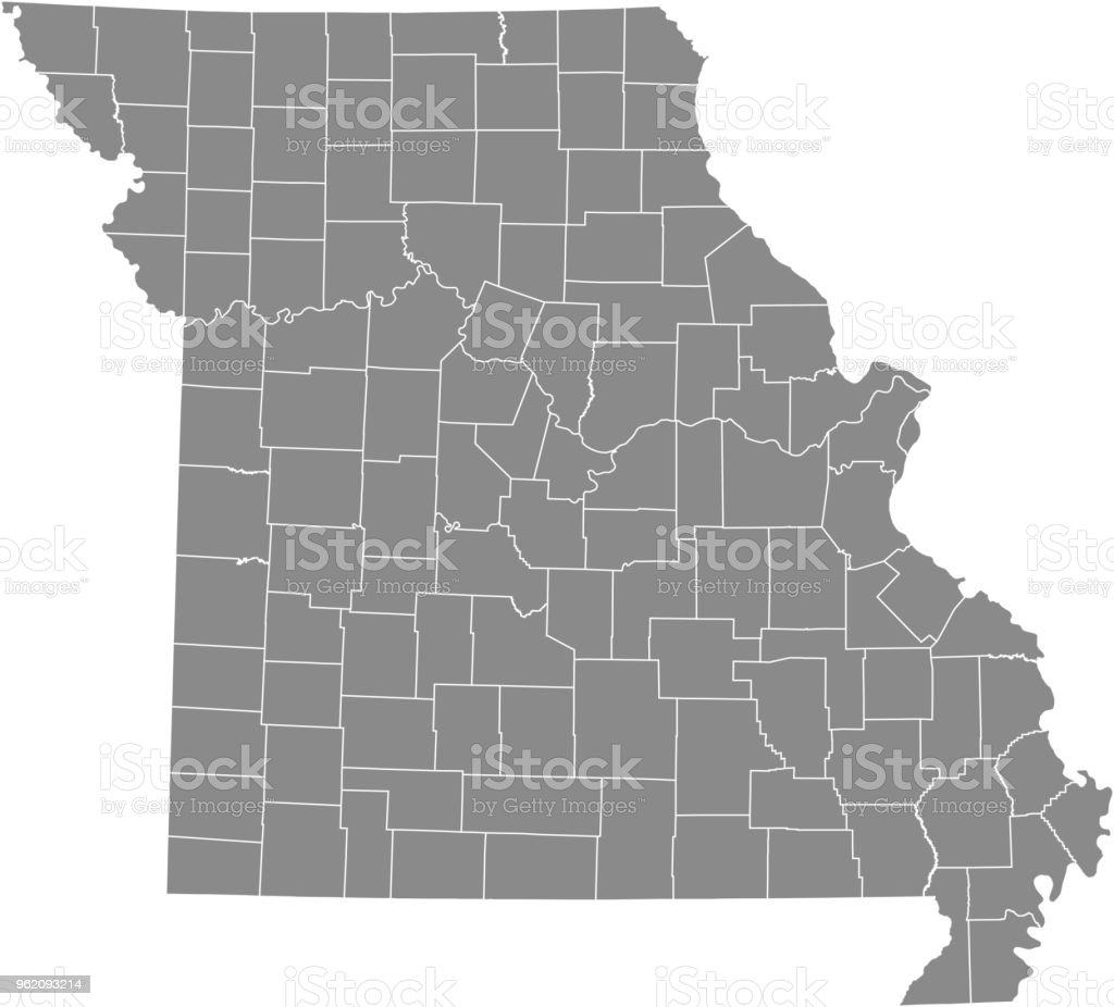 Missouri County Map Vector Outline Gray Background Map Of Missouri ...