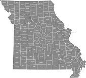 Missouri county map vector outline gray background. Map of Missouri state of USA with borders and counties names labeled