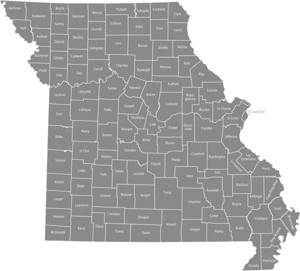 missouri county map vector outline gray background. map of missouri state of usa with borders and counties names labeled - missouri stock illustrations