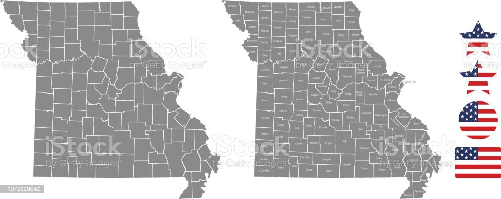 Missouri County Map Vector Outline In Gray Background Missouri State ...