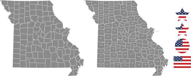 missouri ilçe harita vektör anahat gri arka planda. missouri state abd harita ilçelerin adlarıyla etiketlenir ve amerika birleşik devletleri bayrağı simge vektör çizim tasarımlar - missouri stock illustrations