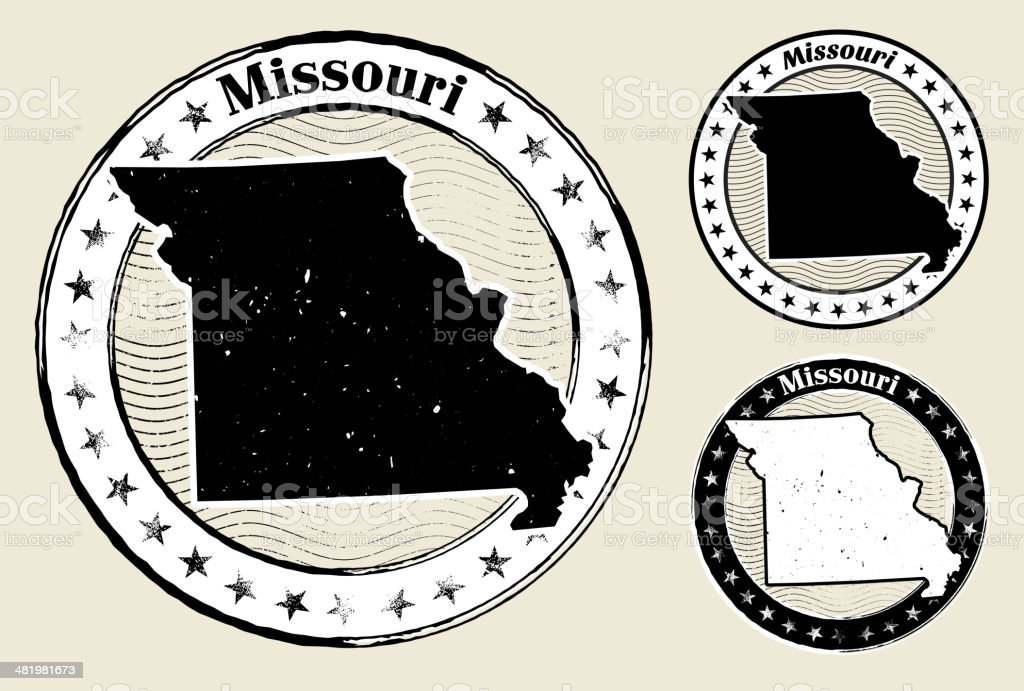 Missouri Grunge Map Black & White Stamp Collection royalty-free stock vector art