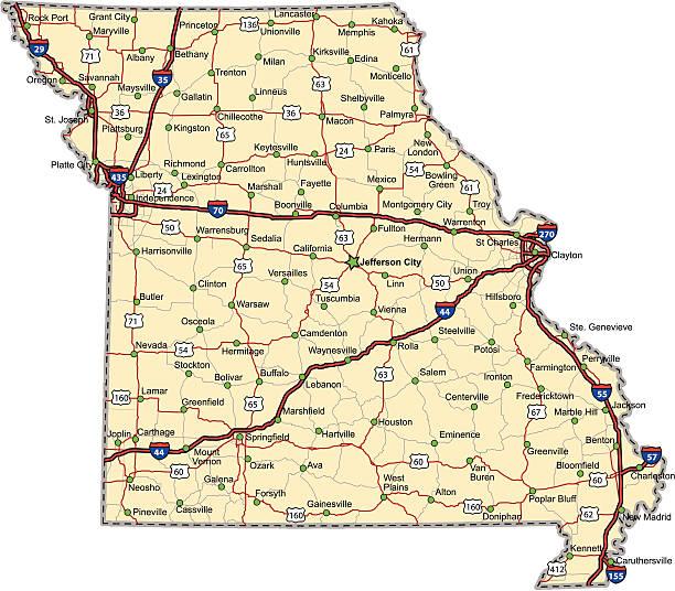 Missouri Highway Map vector art illustration