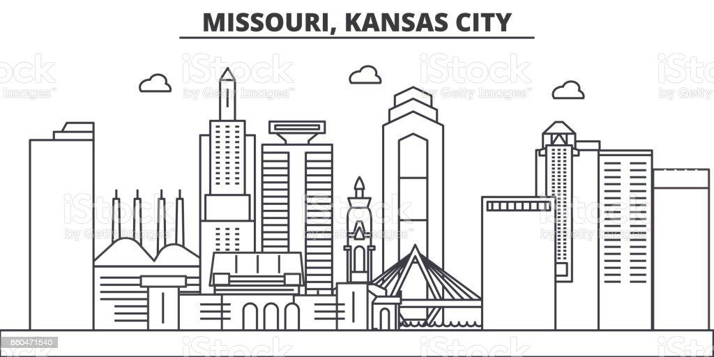 Missouri, Kansas City architecture line skyline illustration. Linear vector cityscape with famous landmarks, city sights, design icons. Landscape wtih editable strokes vector art illustration