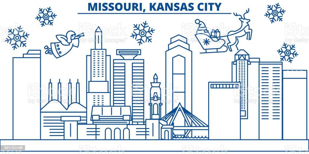 Usa Missouri Kansas City Winter Skyline Der Stadt Frohe Weihnachten