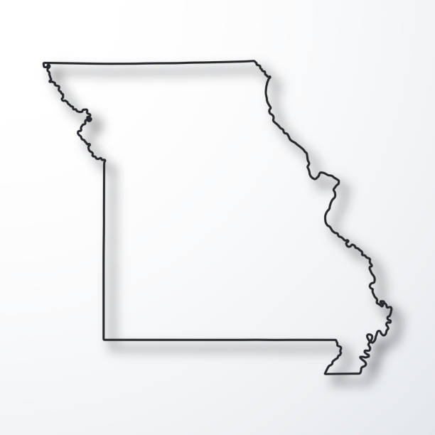 missouri map - black outline with shadow on white background - missouri stock illustrations