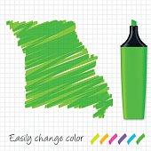 Missouri map hand drawn on grid paper, green highlighter