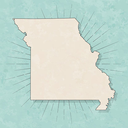 Map of Missouri in a trendy vintage style. Beautiful retro illustration with old textured paper and light rays in the background (colors used: blue, green, beige and black for the outline). Vector Illustration (EPS10, well layered and grouped). Easy to edit, manipulate, resize or colorize.