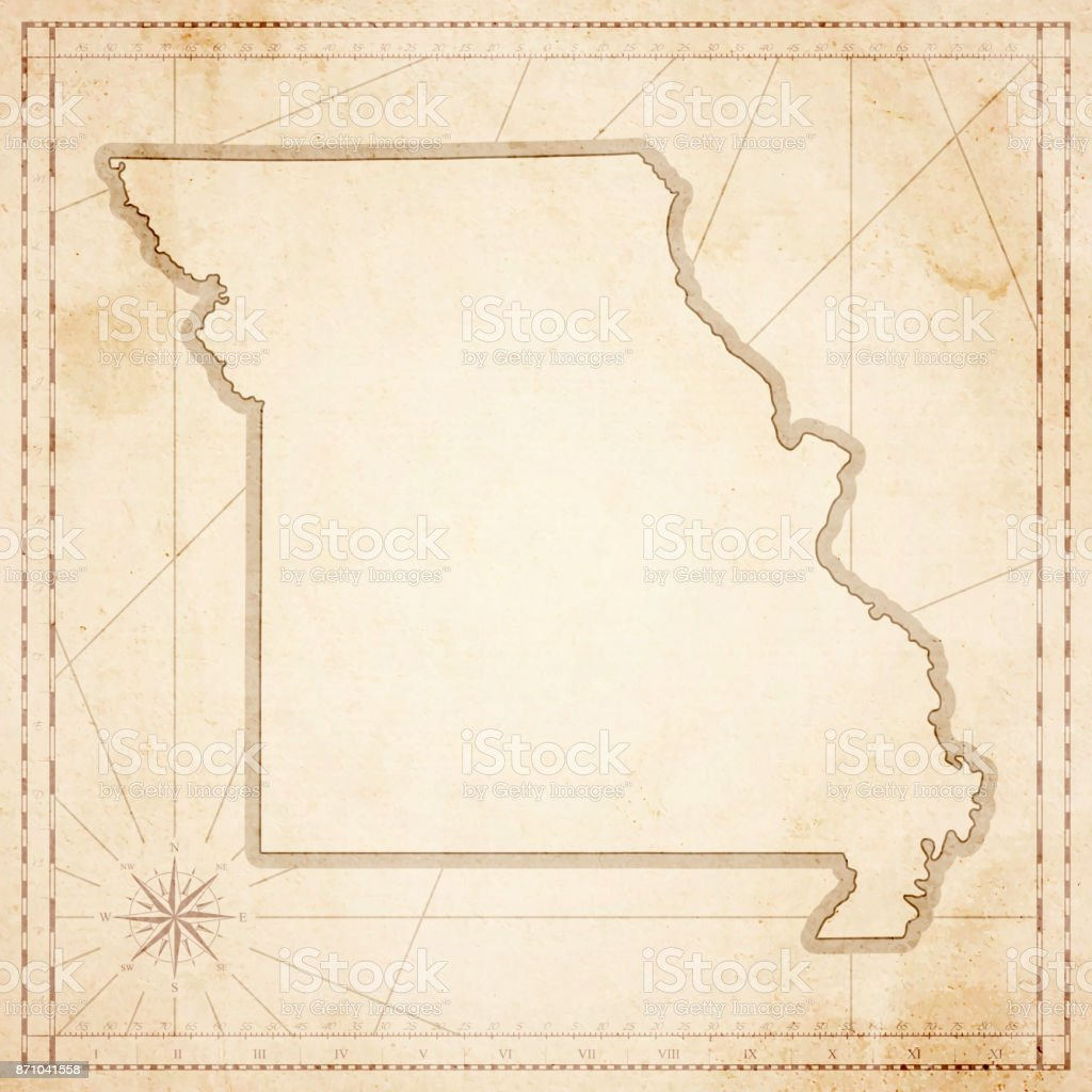 Missouri Map In Retro Vintage Style Old Textured Paper Stock Vector
