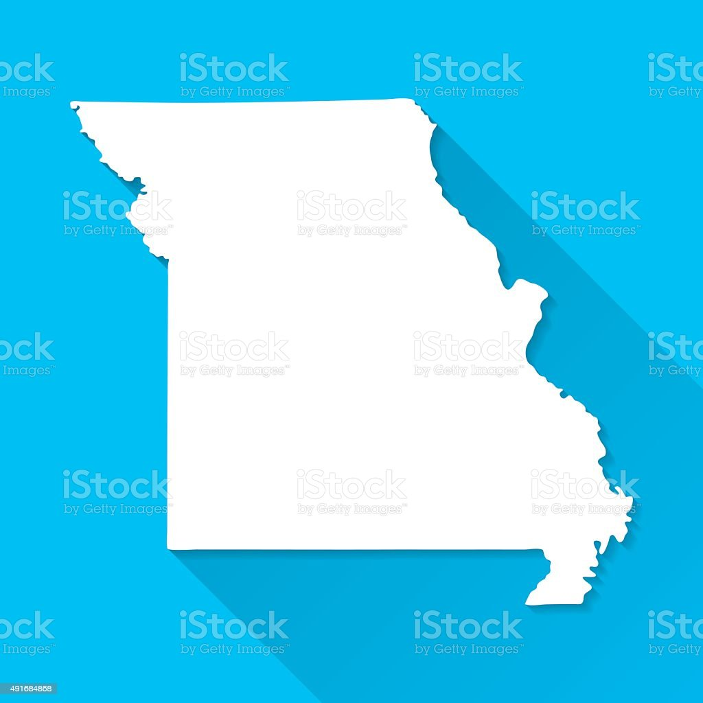 Missouri Map on Blue Background, Long Shadow, Flat Design vector art illustration