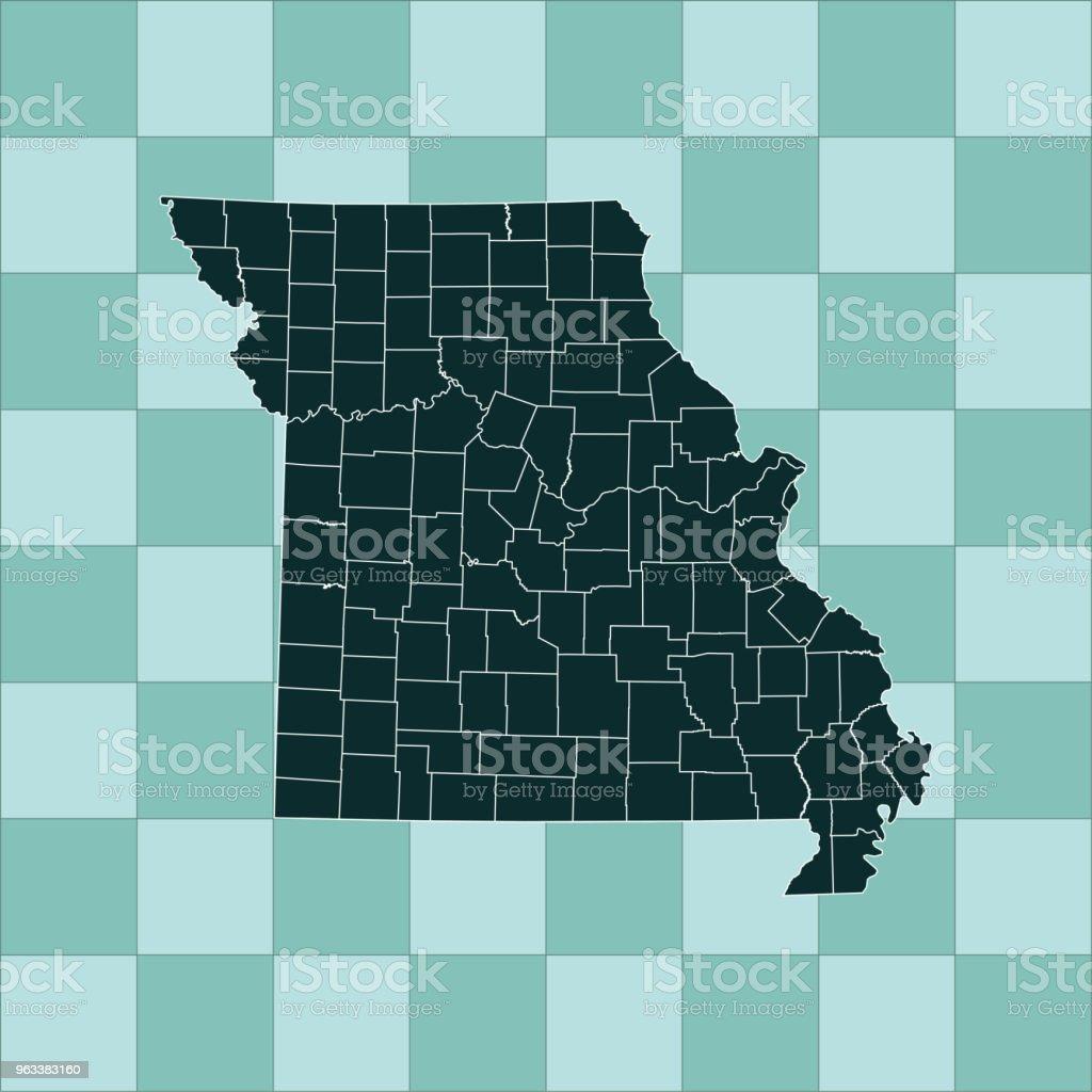 Missouri map - Grafika wektorowa royalty-free (Ameryka Północna)
