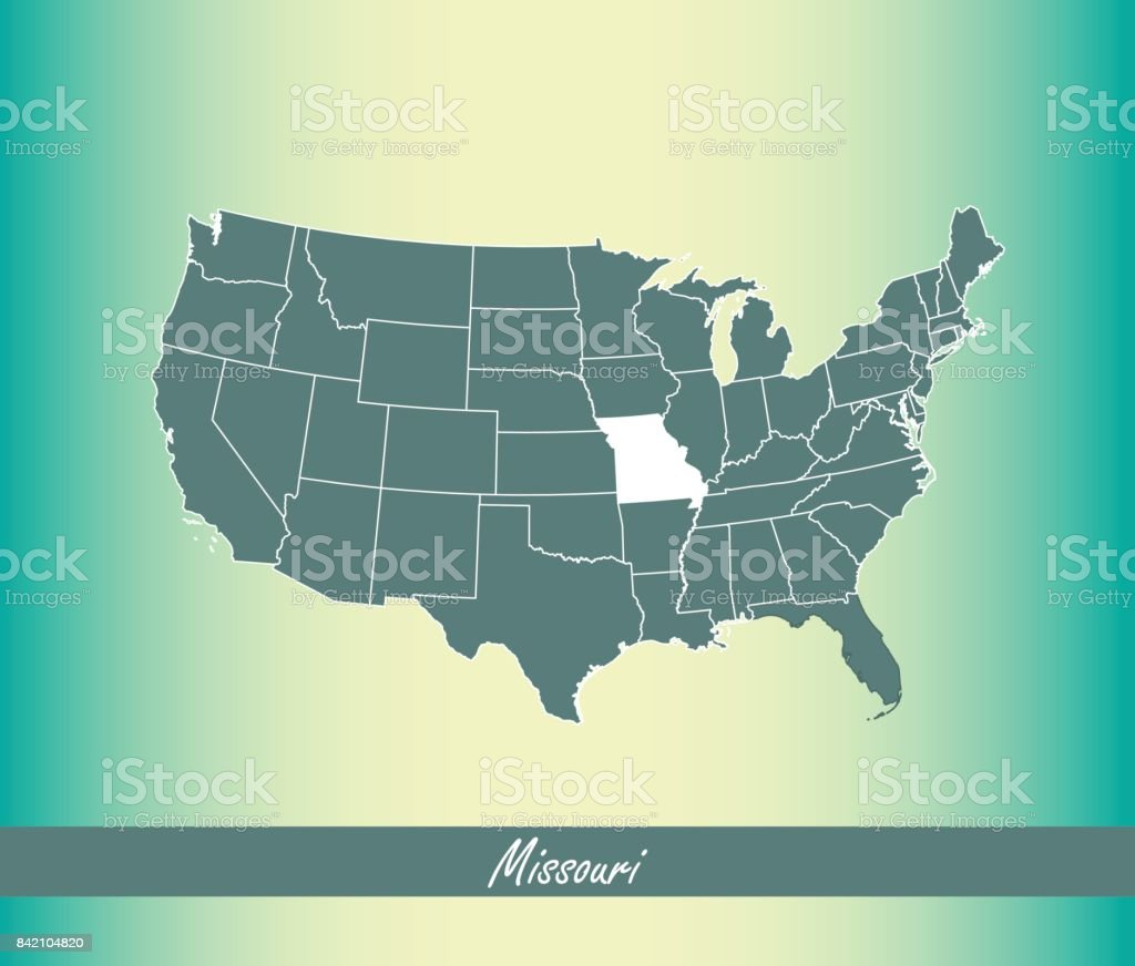 Missouri Map Vector Outline Illustration Highlighted In Us Map - Missouri in us map