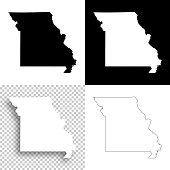 Missouri maps for design - Blank, white and black backgrounds
