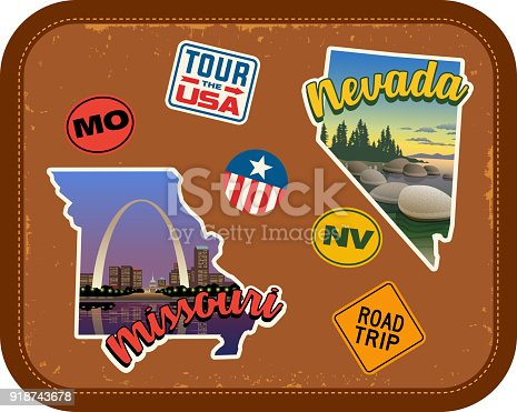 Missouri, Nevada travel stickers with scenic attractions and retro text. State outline shapes. State abbreviations and tour USA stickers. Vintage suitcase background