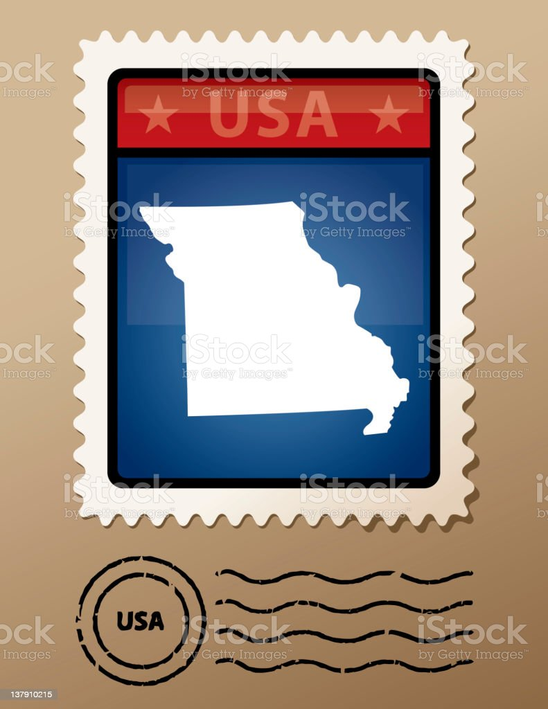 USA Missouri postage stamp royalty-free stock vector art