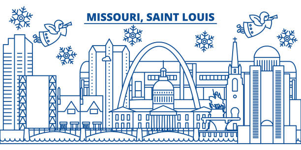 usa, missouri, saint louis winter city skyline. merry christmas and happy new year decorated banner. winter greeting card with snow and santa claus. flat, line vector. linear christmas illustration - st louis stock illustrations