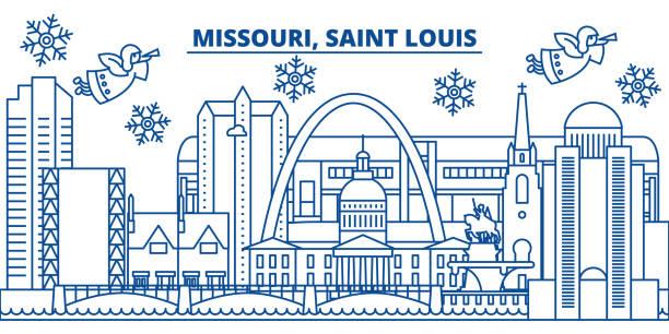 美國, 密蘇里州, 聖路易斯的冬季城市天際線。聖誕快樂, 新年裝飾橫幅。冬天賀卡與雪和聖誕老人。平面, 線向量。線形聖誕插畫 - st louis 幅插畫檔、美工圖案、卡通及圖標