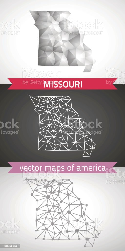 Missouri set of grey and silver mosaic 3d polygonal maps. Graphic vector triangle geometry outline shadow perspective maps vector art illustration