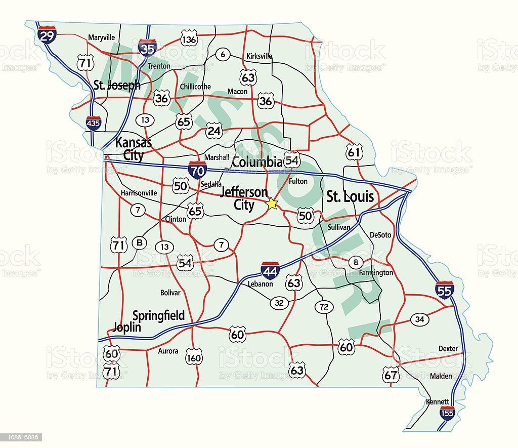 Missouri State Interstate Map vector art illustration
