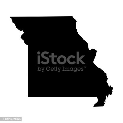 Missouri, state of USA - solid black silhouette map of country area. Simple flat vector illustration.