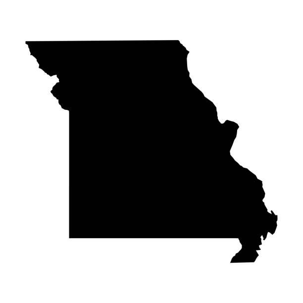 missouri, stan usa - solidna czarna mapa sylwetki obszaru kraju. prosta płaska ilustracja wektorowa - st louis stock illustrations