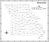 Missouri state outline administrative and political vector map in black and white