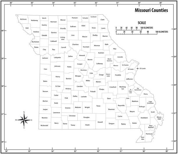 anahat idari ve siyasi vektör harita siyah beyaz missouri devlet - missouri stock illustrations