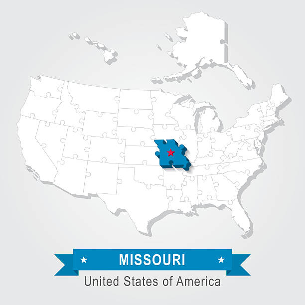 Missouri Flag Clip Art Vector Images Illustrations IStock - Missouri state map usa