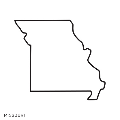 Missouri - States of USA Outline Map Vector Template Illustration Design. Editable Stroke.
