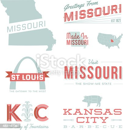 A set of vintage-style icons and typography representing the state of Missouri, including St. Louis and Kansas City. Each items is on a separate layer. Includes a layered Photoshop document. Ideal for both print and web elements.