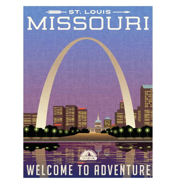 missouri, united states travel poster or luggage sticker. scenic illustration of the gateway arch and downtown st. louis at night. - st louis stock illustrations