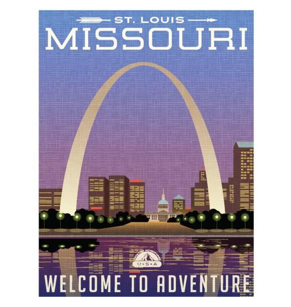 密蘇里州,美國旅行海報或行李標籤。拱門和聖路易斯市中心晚上的風景插圖。 - st louis 幅插畫檔、美工圖案、卡通及圖標