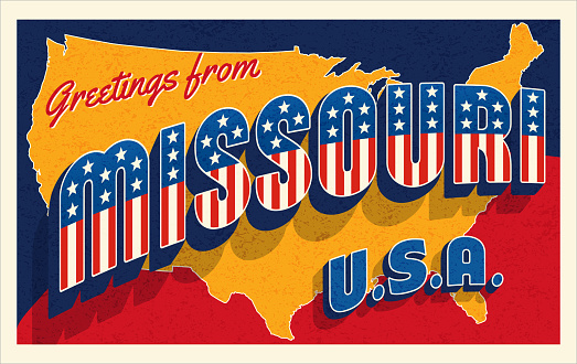 Greetings from Missouri  USA. Retro style postcard with patriotic stars and stripes lettering and United States map in the background. For 4th of July or Memorial Day travel. Vector illustration.