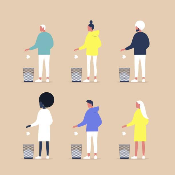 Fouten op het werk, een reeks personages van verschillende geslachten en races die papier in een vuilnisbak gooienvectorkunst illustratie