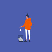 Mistakes at work. Young female character throwing out a ball of paper. Recycling. Flat vector illustration, clip art
