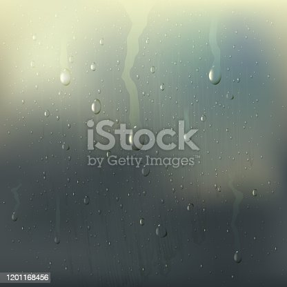 Colored misted wet glass drops realistic composition with rain stains on the window vector illustration