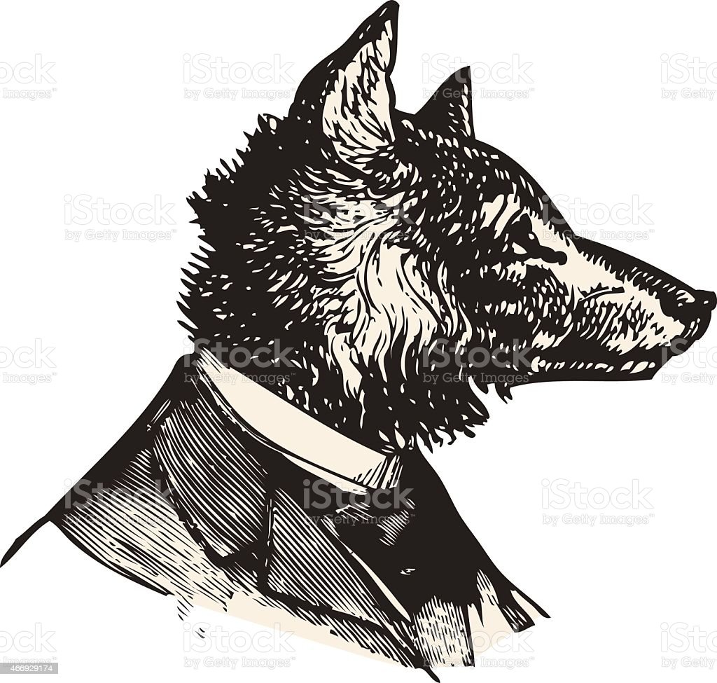 Mister Wolf vector art illustration