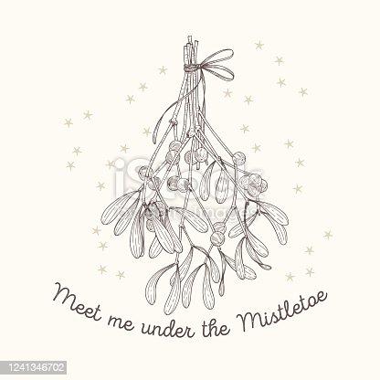 istock Mistletoe sketch greeting card 1241346702