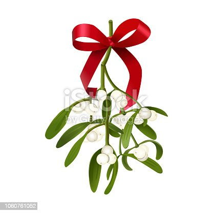 istock Mistletoe. Vector illustration of hanging mistletoe sprigs with with berries and red bow isolated on white 1060761052