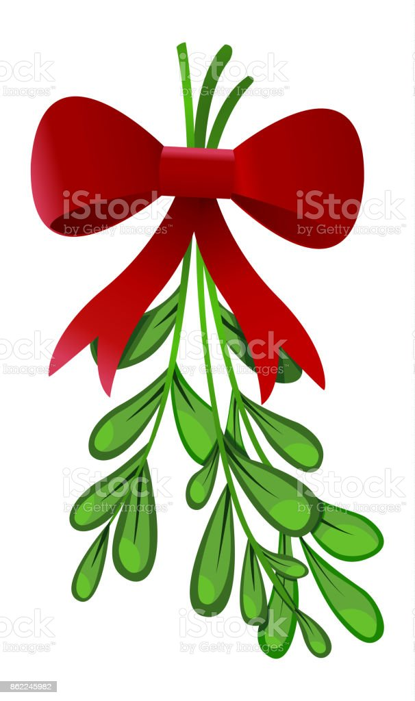 Mistletoe with red bow isolated on white background vector art illustration