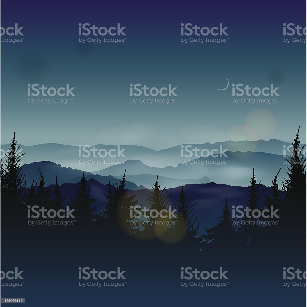 Misty coniferous forests royalty-free misty coniferous forests stock vector art & more images of backgrounds