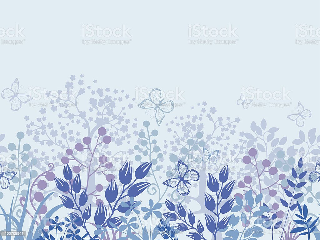 Misty floral horizontal seamless pattern royalty-free stock vector art