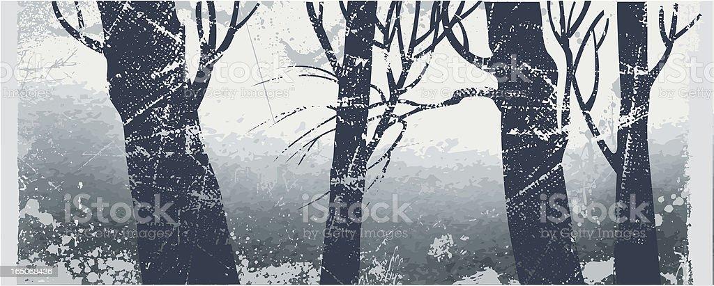 Misty forest vector art illustration