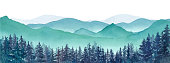 istock Misty mountains and coniferous forest landscape panorama Trace vector of watercolor illustration 1205334317