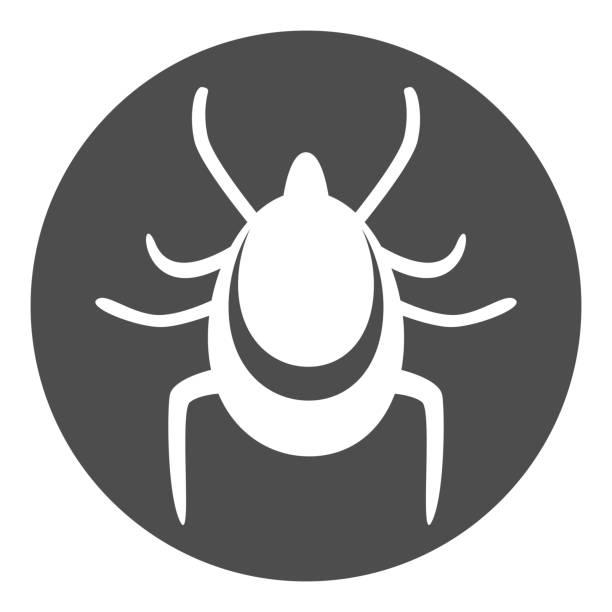 Mite icon. Tick silhouette incircle. Vector illustration Mite icon. Tick silhouette incircle. Vector illustration. parasitic stock illustrations